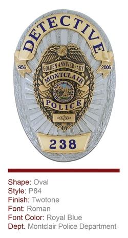 Montclair Police Department Anniversary Badge
