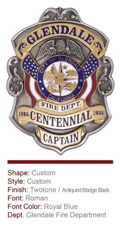 Glendale Fire Department Anniversary Badge
